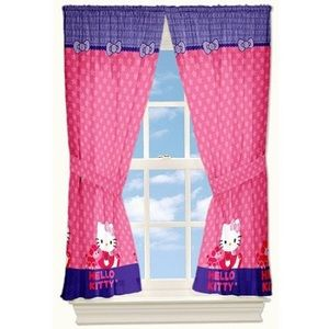 SANRIO Hello Kitty Window Panels Set Of Two 82x63